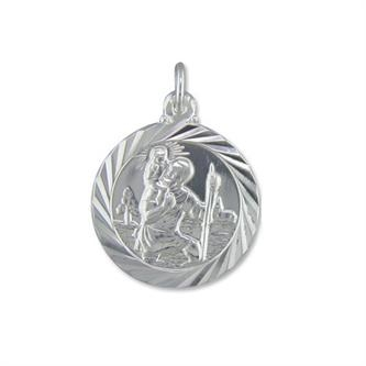 Silver polished st christopher pendant on chain mozeypictures Choice Image