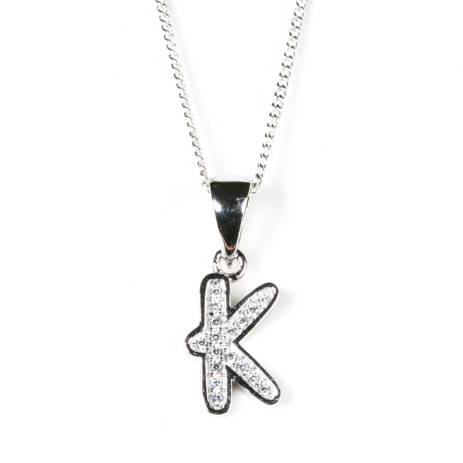 Silver cz initial k pendant and chain aloadofball Image collections