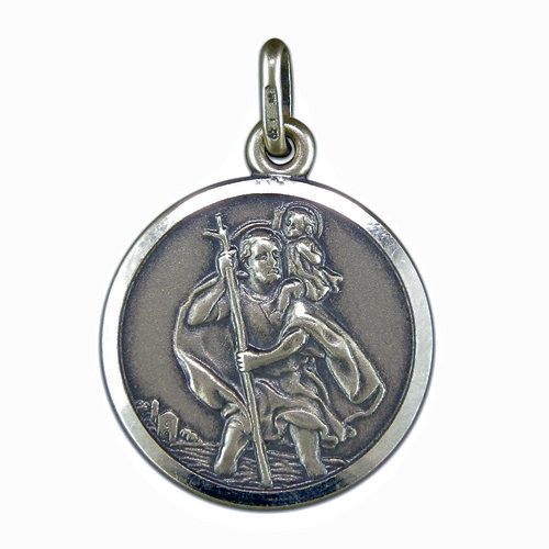 Pendant silver antique finish st christopher mozeypictures Image collections