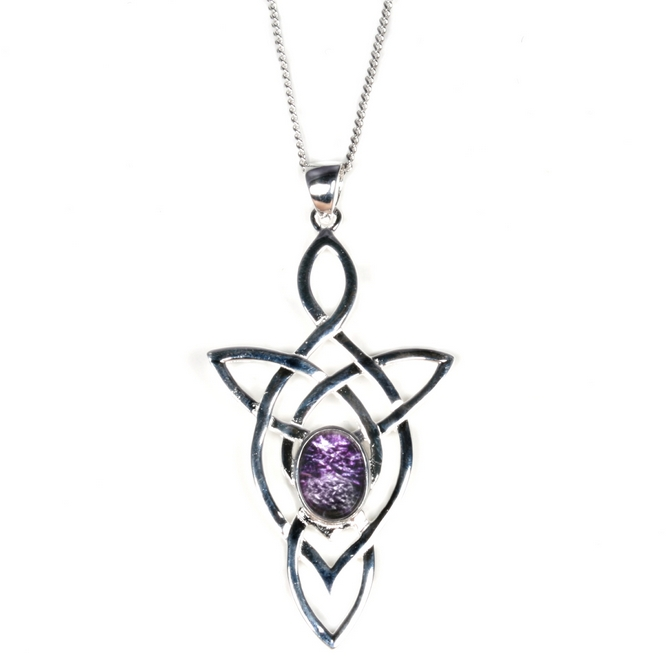 Silver celtic trinity knot with blue john pendant and chain silver blue john pendant celtic trinity enlarge aloadofball Images