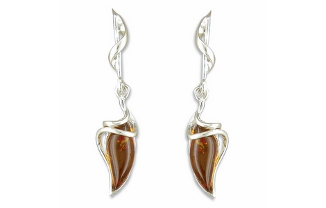 Silver Amber Twist Drop Earrings SE155