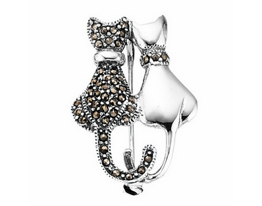 Brooch - Pair Cats