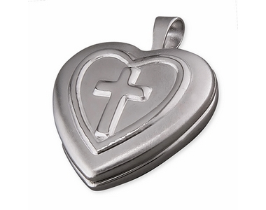 Silver Heart with Cross - Locket and Chain