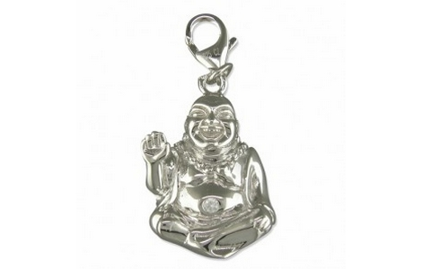Silver Buddha Clip on Charm with Cubic Zirconia Belly Button SCH146