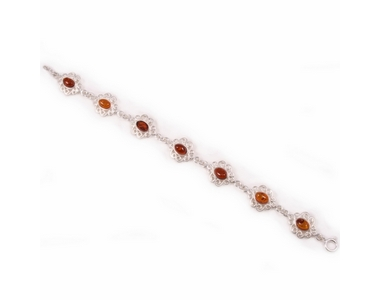 Silver Scroll Edged - 7 Honey Amber Stones - Bracelet