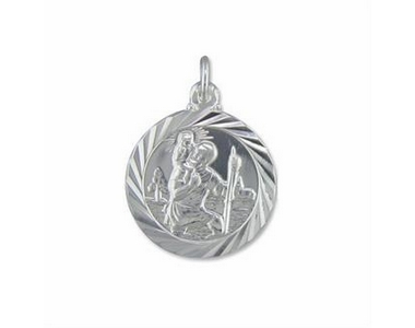 Silver Polished St Christopher Pendant on Chain