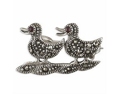 Silver/Marcasite Ducks - Pin/Brooch
