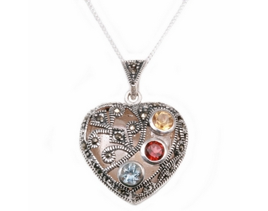 Silver Locket with Coloured Stones on Chain