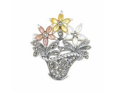Silver Flower Basket  Brooch