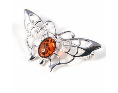 Silver Lace-Winged Butterfly / Amber Brooch/Pin