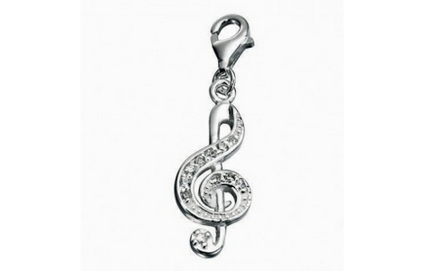 Silver Crystal Treble Clef Music Clip On Charm SCH174