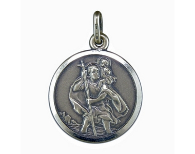 Silver Antique Finish St Christopher Pendant And Chain SN360