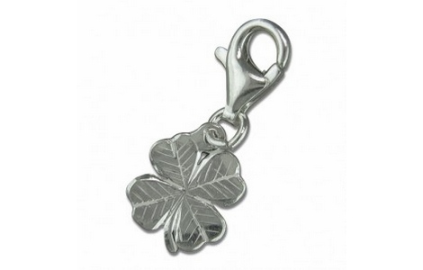 Silver Four Leaf Clover Clip On Charm SCH127