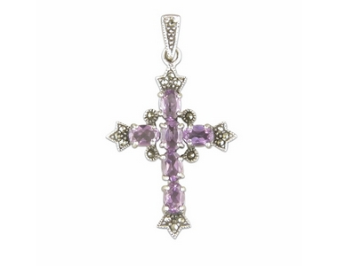 Silver Marcasite & Amethyst Cross and Chain