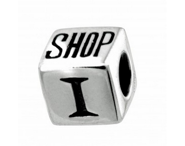 "Silver ""I Love To Shop"" Cube"