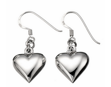 Earrings - Silver Puff Heart