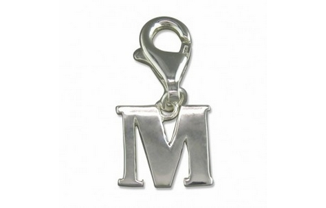 Silver Initial M Clip on Charm SCH164