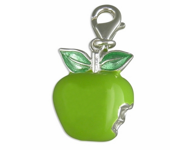 Charms - Silver & Green Apple