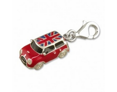 Silver Red Mini with Union Jack Roof Clip on Charm SCH150
