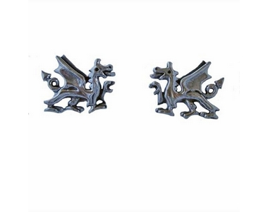 Earrings - Silver Welsh Dragon Studs