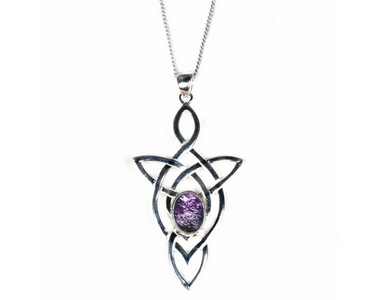 Pendant - Silver Triangular Celtic Knot / Blue John