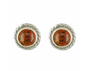 Earrings - Silver Amber Rope Edge Studs