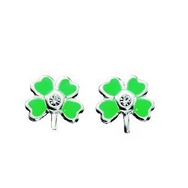 Four-Leaf Clover Silver  Earring Studs