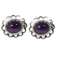Earrings - Silver Loop Edged/Amethyst