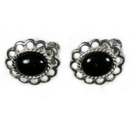 Earrings - Silver Loop Edged/Onyx
