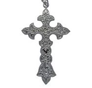 Silver - Ornate Large Cross on Chain