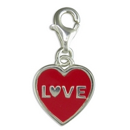 Charms - Silver Red Heart