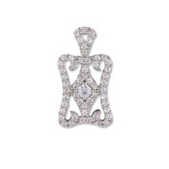 Pendants - Silver CZ Pave Regal Drop