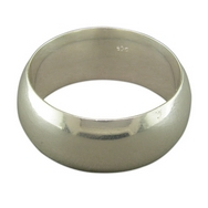 Wide  Silver D-Shaped Band (Ring)