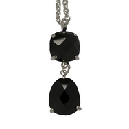 Pendants -  Silver Black CZ Double Drop