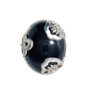 Silver Black Onyx Floral Ring