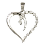 Silver CZ Open Heart (Pendant and chain)