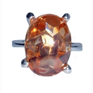 Silver Peach CZ Large Solitaire