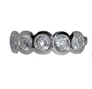 Silver Ring with CZ Discs