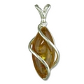 Silver / Amber Marquis-Shaped Pendant and Chain