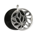 Pendants - Onyx Disc/Silver Floral Overlay