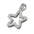 Open Work Cubic Zirconia 'Open' Silver Star Pendant and Chain