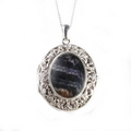 Silver / Blue John Stone Filigree  Locket  - 'Treasure'