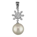 Silver / Pearl / Cubic Zirconia Pendant and Chain