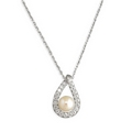 Silver / Pearl Teardrop  with Cubic Zirconia Necklace