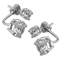 Silver / Double Cubic Zirconia Earrings