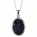 Silver Rope Edge / Blue John Pendant and Chain (Signature)