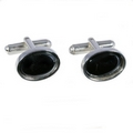 Silver Polished Edge / Hematite Cufflinks