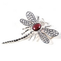 Silver Lace-wing Dragonfly / Garnet Brooch