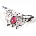 Silver Lace-Winged Butterfly / Garnet Brooch/Pin