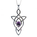 Silver Trinity Celtic Knot with Amethyst -  Pendant and Chain
